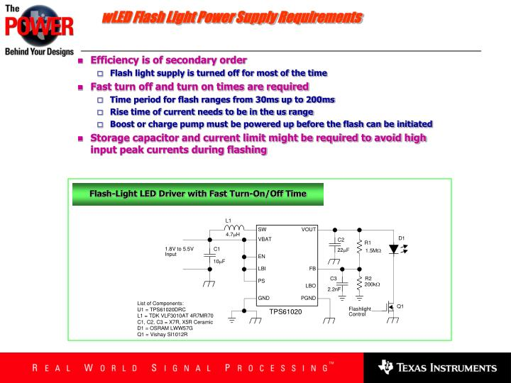 wLED Flash Light Power Supply Requirements