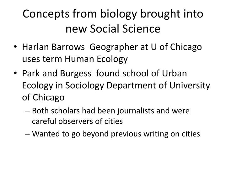 Concepts from biology brought into new Social Science