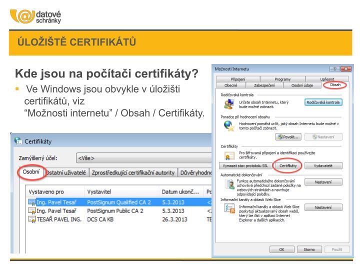 úložiště certifikátů