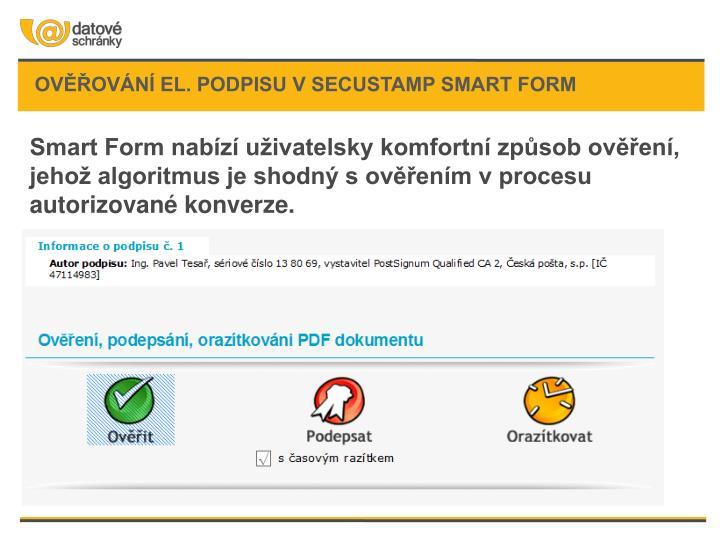 Ověřování el. podpisu v SecuStamp Smart form