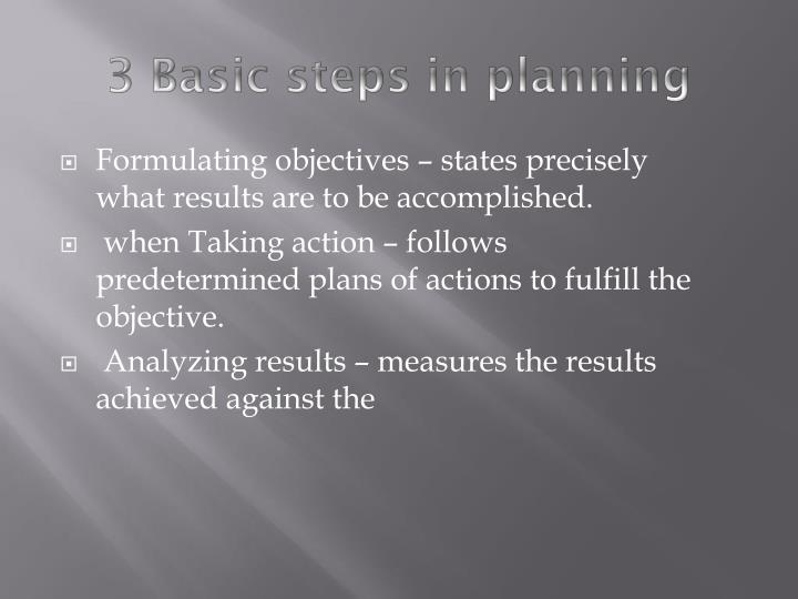 3 Basic steps in planning