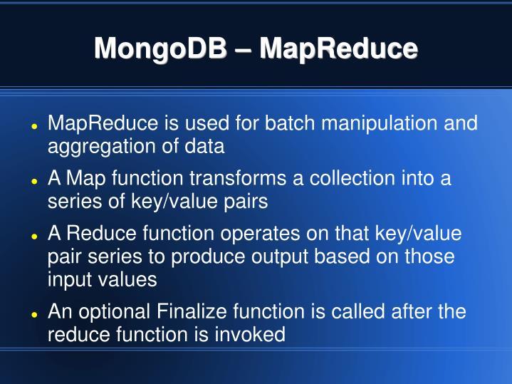MongoDB – MapReduce