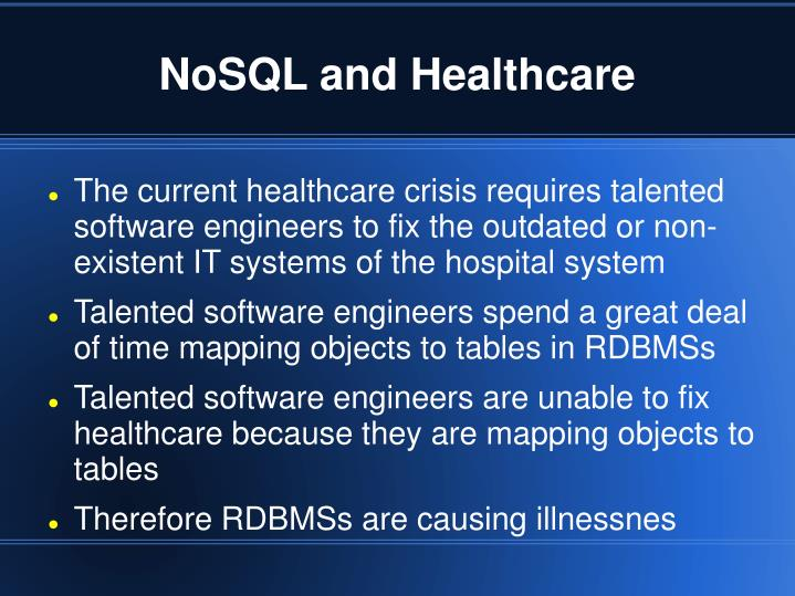 NoSQL and Healthcare