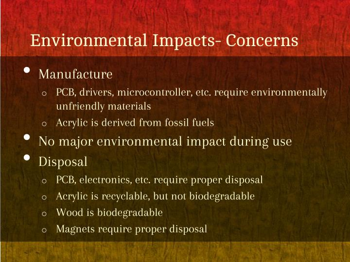 Environmental impacts concerns