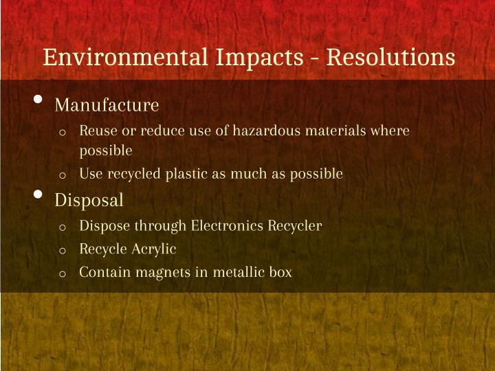Environmental impacts resolutions