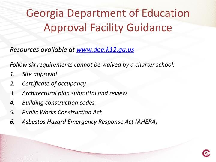 Georgia Department of Education Approval Facility Guidance