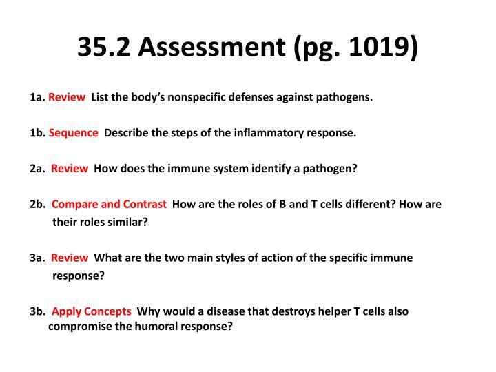 35.2 Assessment (pg. 1019)