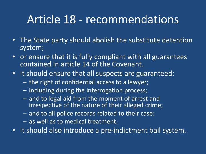 Article 18 - recommendations