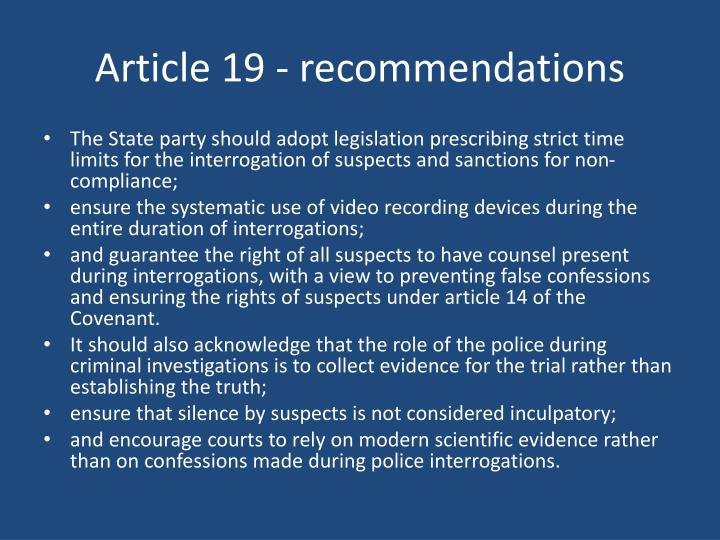 Article 19 - recommendations