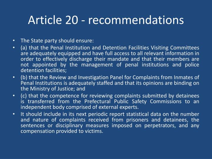 Article 20 - recommendations