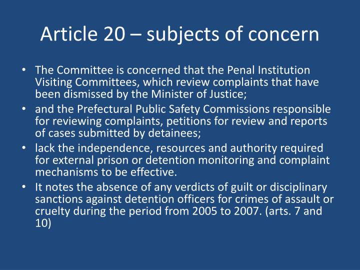 Article 20 – subjects of concern