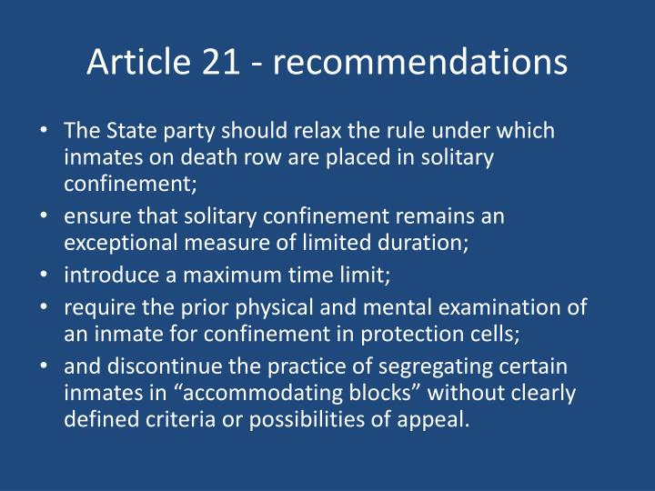 Article 21 - recommendations