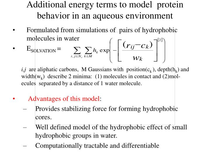 Additional energy terms to model  protein behavior in an aqueous environment