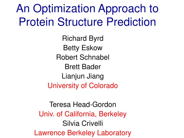 An optimization approach to protein structure prediction