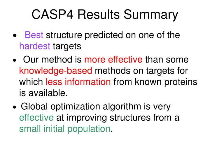 CASP4 Results Summary