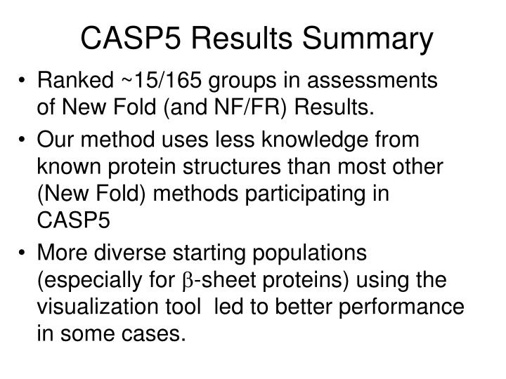CASP5 Results Summary