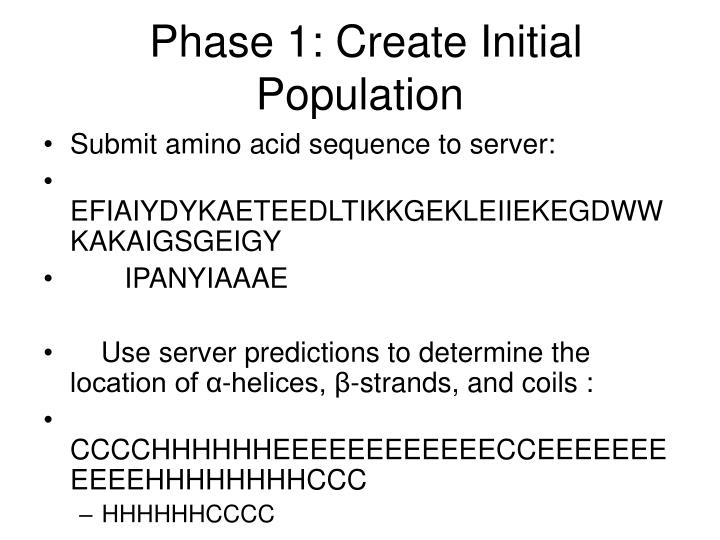 Phase 1: Create Initial Population