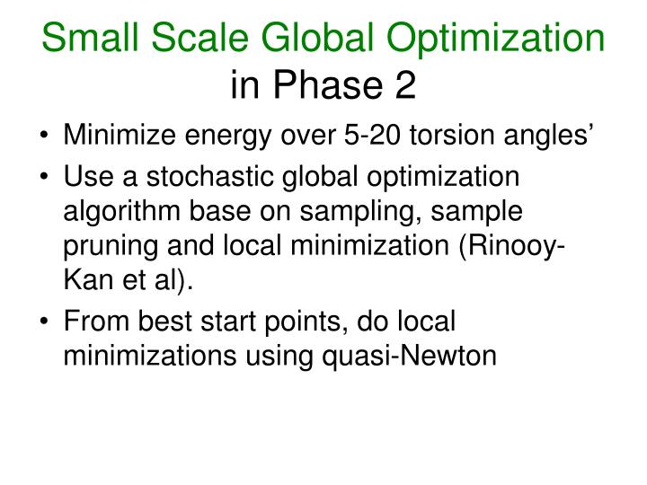 Small Scale Global Optimization