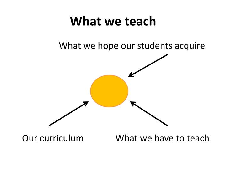 What we teach