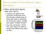 however many voters however agree with kerry