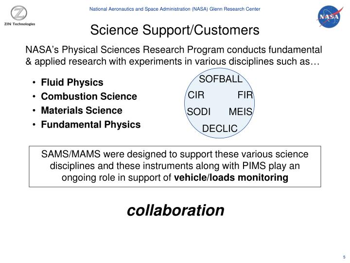 Science Support/Customers