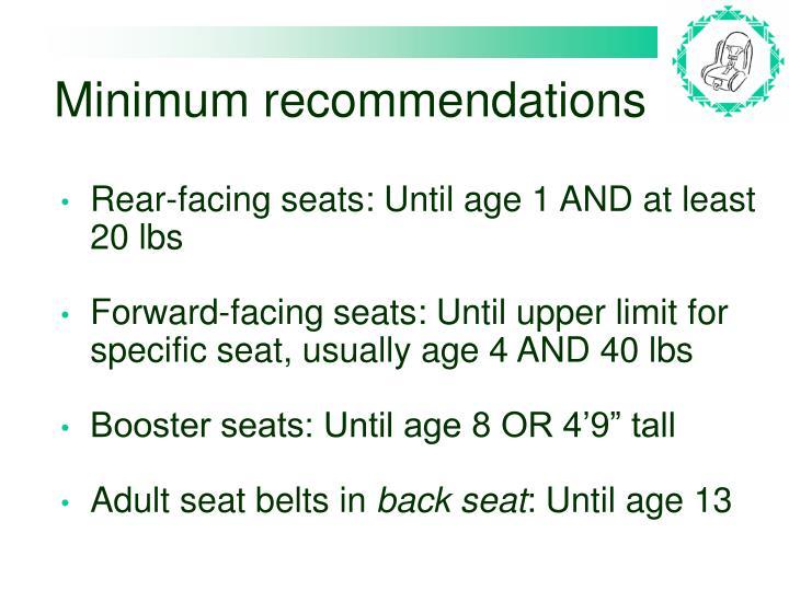Minimum recommendations
