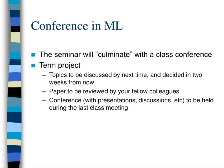 Conference in ML