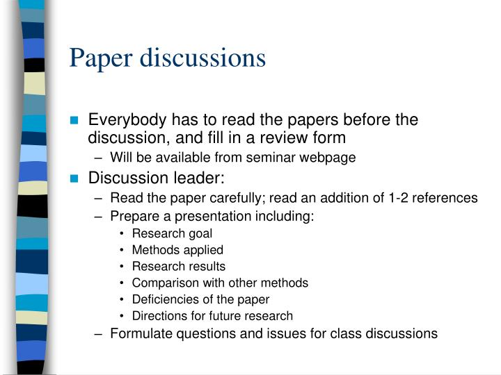 Paper discussions