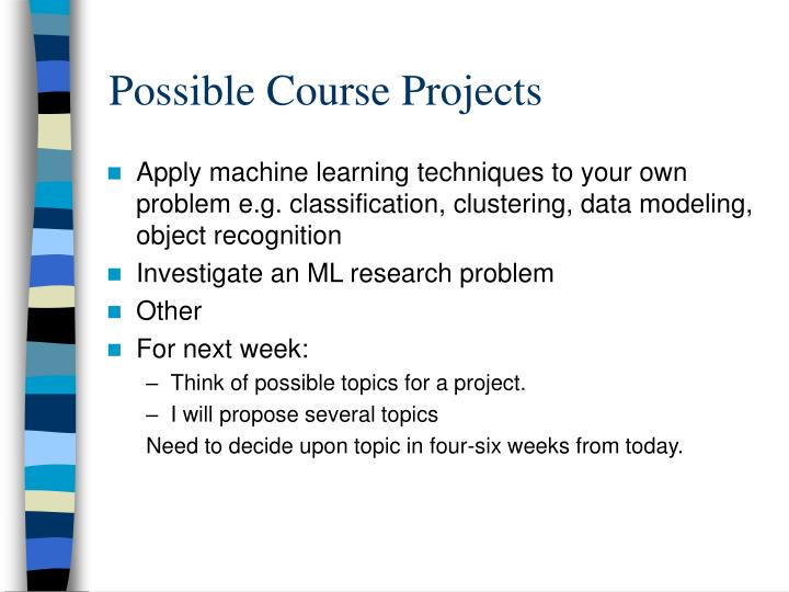 Possible Course Projects