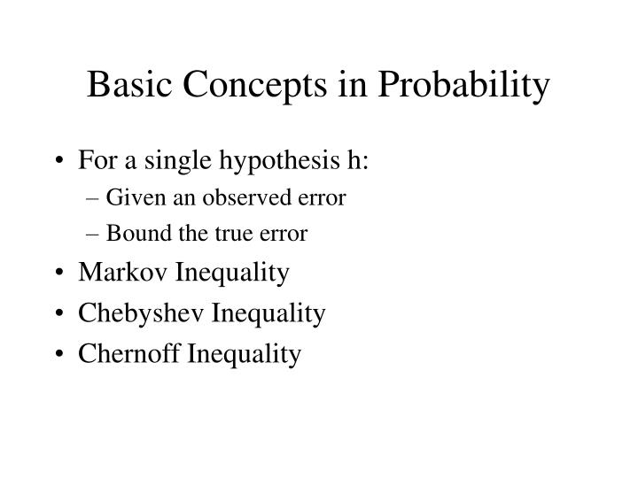 Basic Concepts in Probability