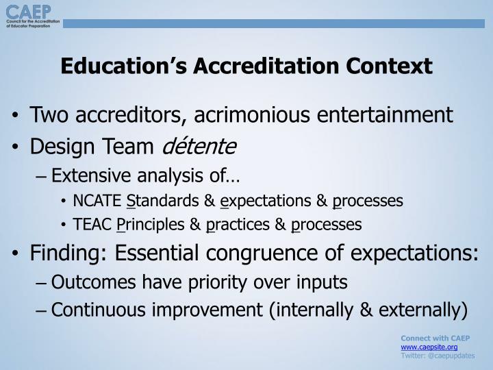 Education's Accreditation Context