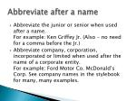 abbreviate after a name