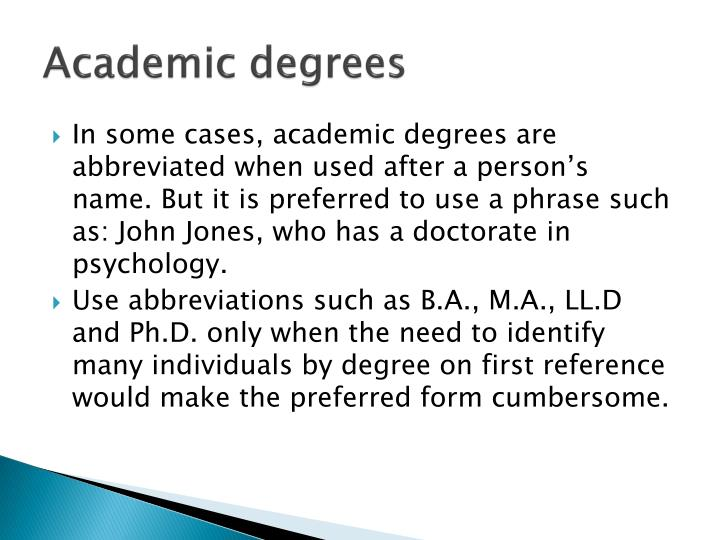 Academic degrees