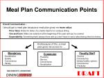 meal plan communication points