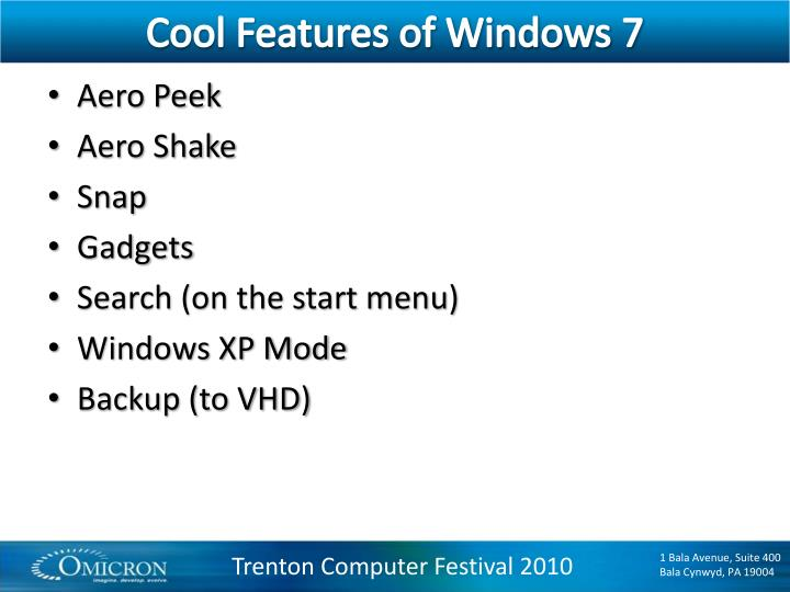Cool Features of Windows 7