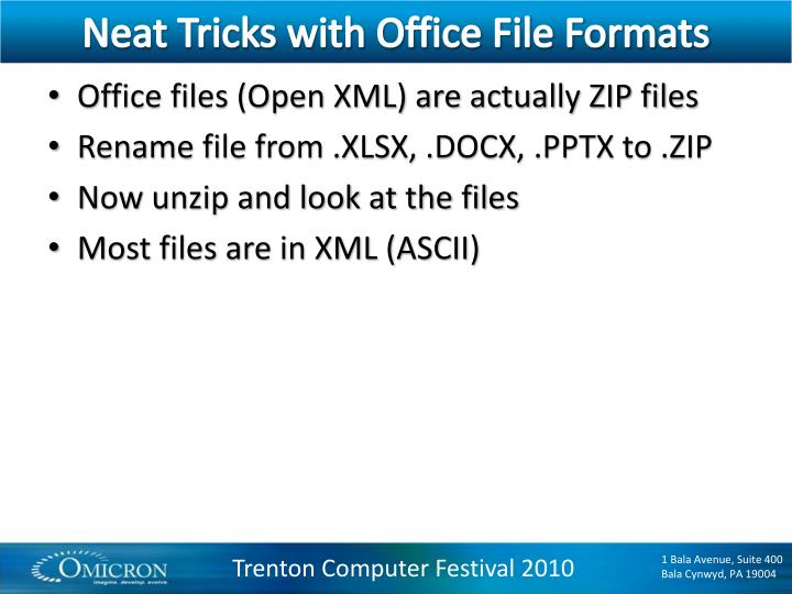 Neat Tricks with Office File Formats