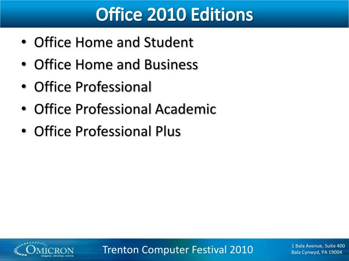 Office 2010 Editions