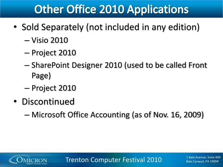 Other Office 2010 Applications