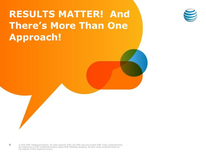 RESULTS MATTER!  And There's More Than One Approach!