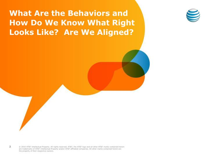 What Are the Behaviors and How Do We Know What Right Looks Like?  Are We Aligned?