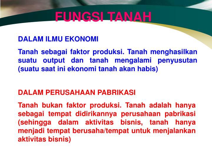 FUNGSI TANAH