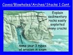 caves blowholes arches stacks 1 cont