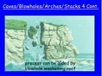 caves blowholes arches stacks 4 cont