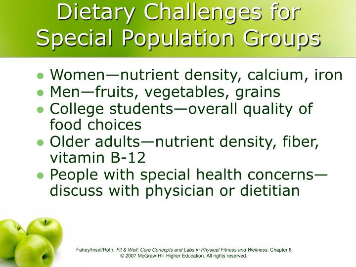 Dietary Challenges for Special Population Groups
