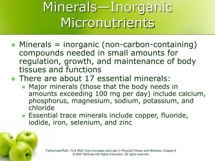 Minerals—Inorganic Micronutrients