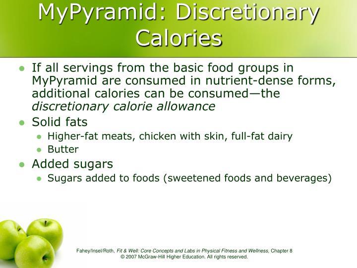MyPyramid: Discretionary Calories