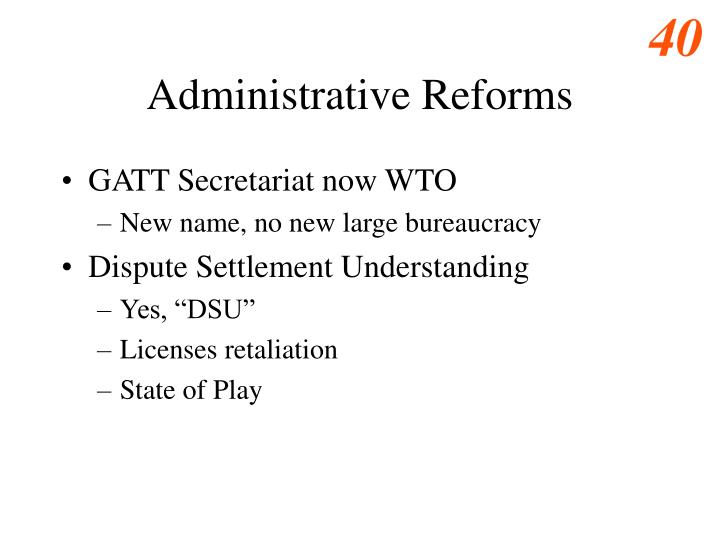 Administrative Reforms