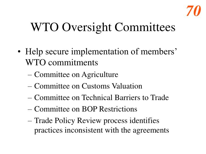 WTO Oversight Committees