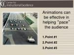animations can be effective in helping pace the audience
