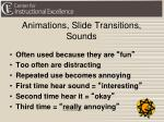 animations slide transitions sounds